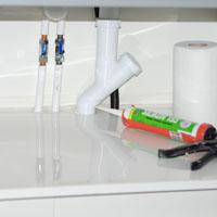 Läckageskydd under diskbänk