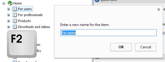 Sitecore Keyboard Shortcut F2