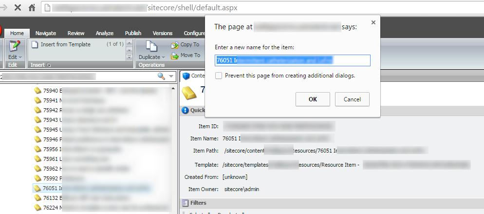 Invalid Sitecore Item name