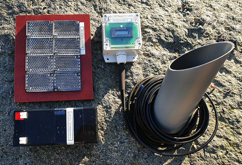 Besöksräknare utomhus med batteri och strut