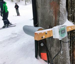 Besöksräknare SkiStar för utomhusbruk monterad i backen i Sälen.